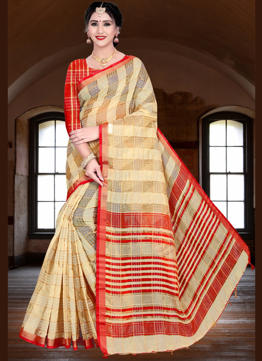 Beige Woven Festival Traditional Saree