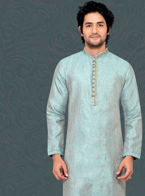Bhagalpuri Silk Aqua Blue Embroidered Kurta Payjama With Jacket