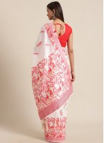 Bhagalpuri Silk Red and White Woven Traditional Saree
