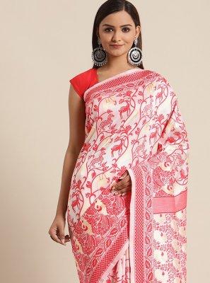 Bhagalpuri Silk Woven Red and White Traditional Saree