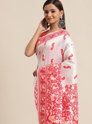 Bhagalpuri Silk Woven Red and White Traditional Saree