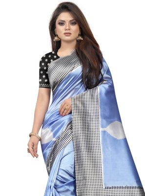 Black and Blue Abstract Print Silk Traditional Saree