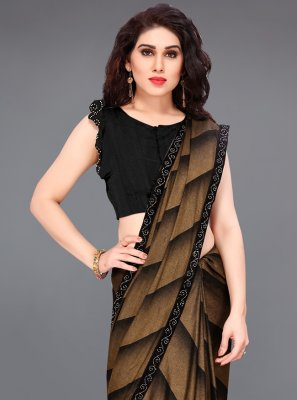Black and Brown Border Lycra Printed Saree