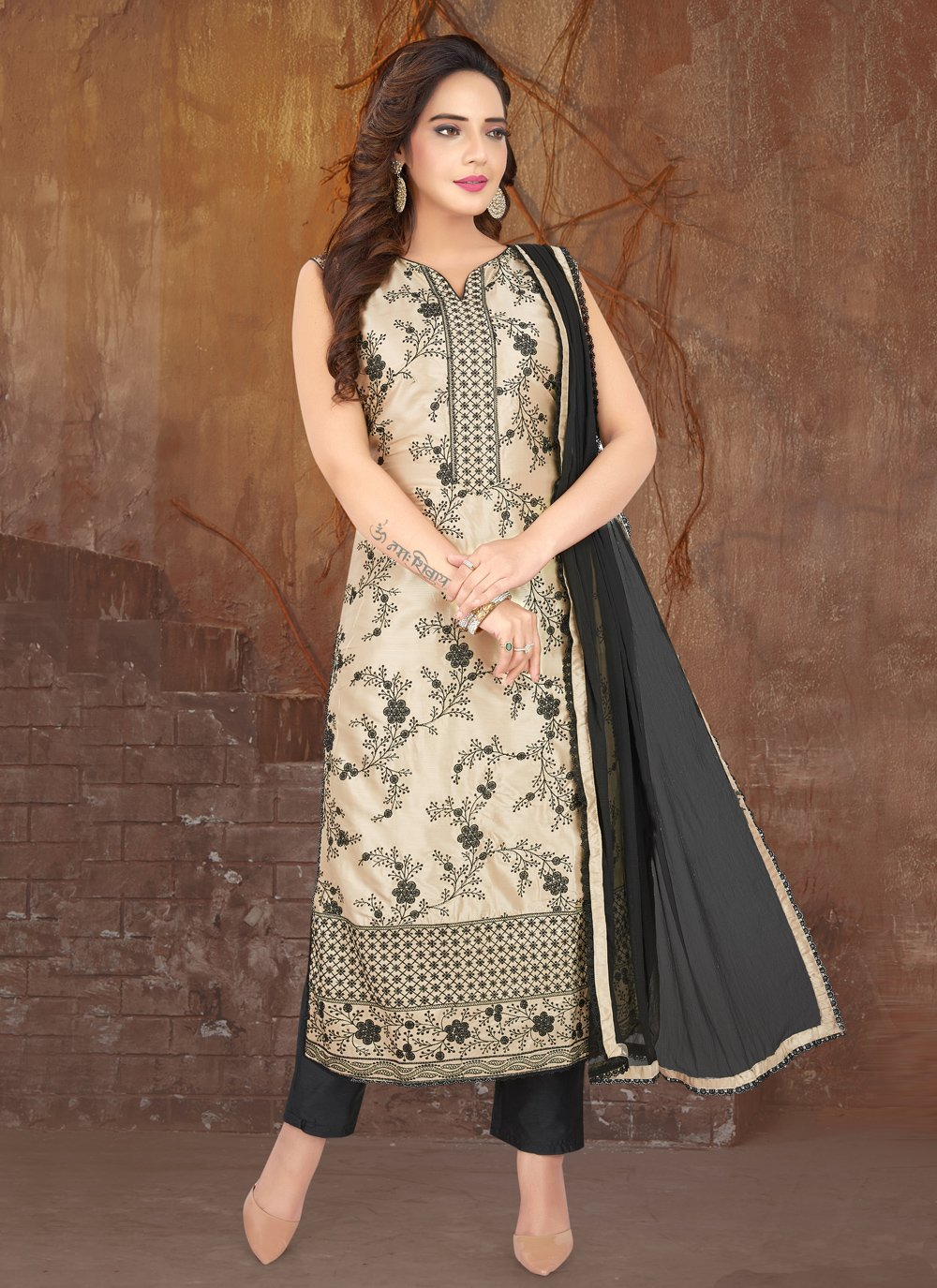 Black and Cream Sangeet Designer Suit