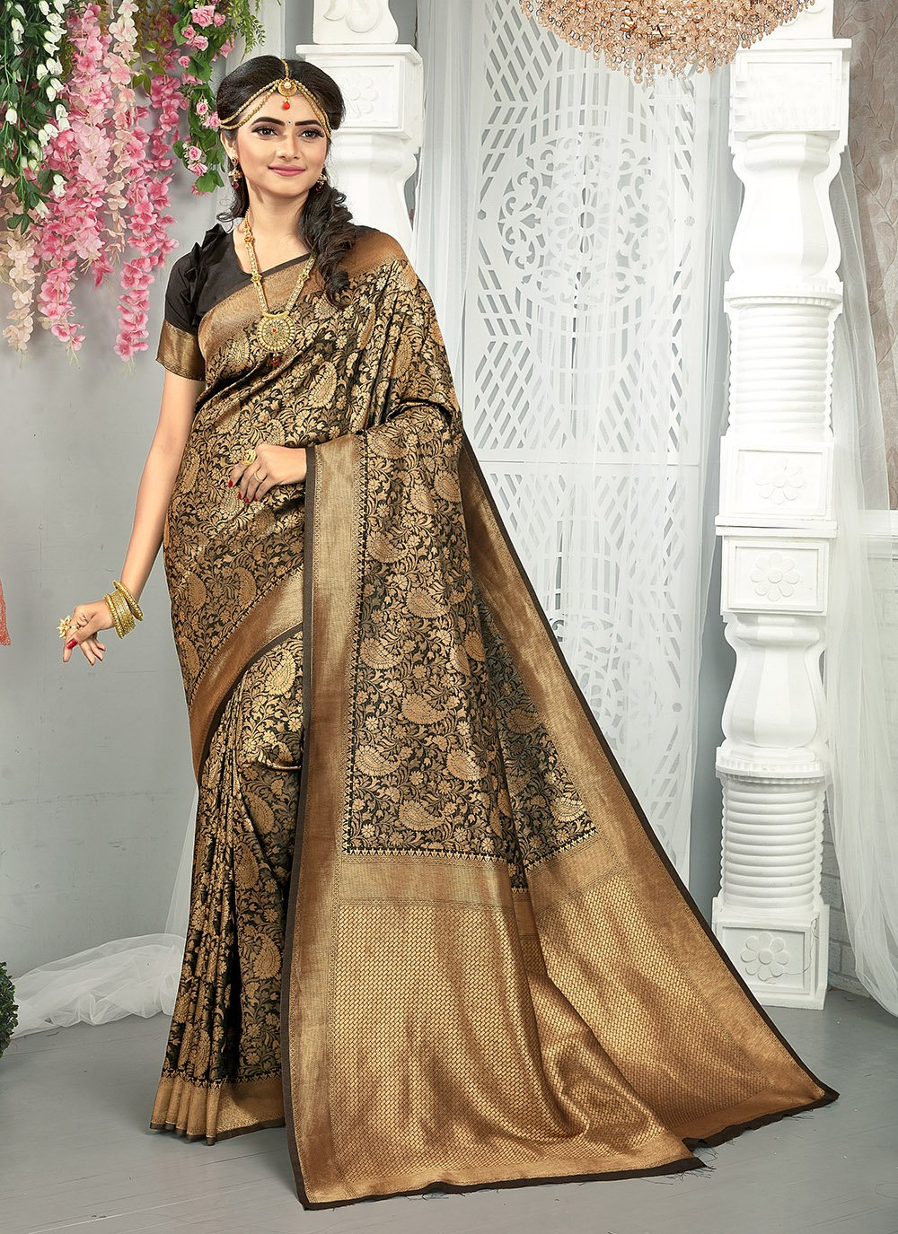 Black and Gold Weaving Traditional Saree