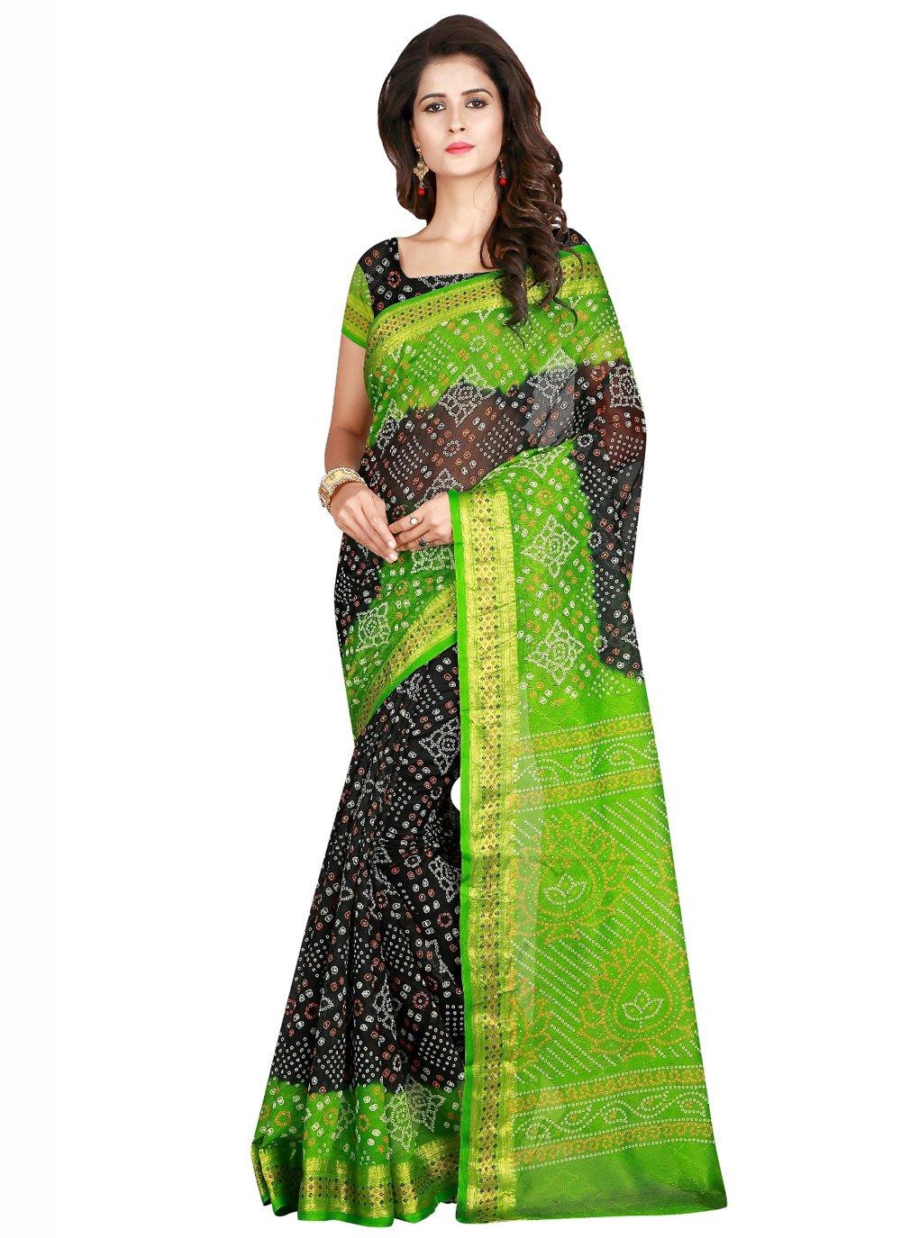 Black and Green Printed Art Silk Traditional Designer Saree