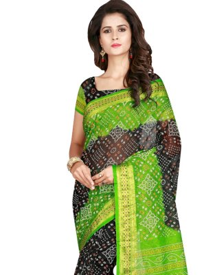 Black and Green Printed Art Silk Traditional Designer Saree
