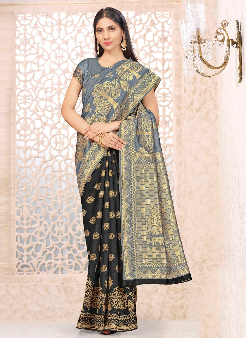 Black and Grey Banarasi Silk Weaving Half N Half  Saree