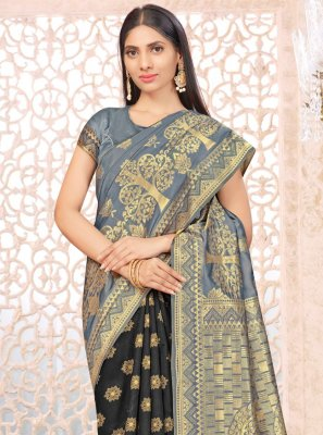 Black and Grey Banarasi Silk Weaving Half N Half  Saree