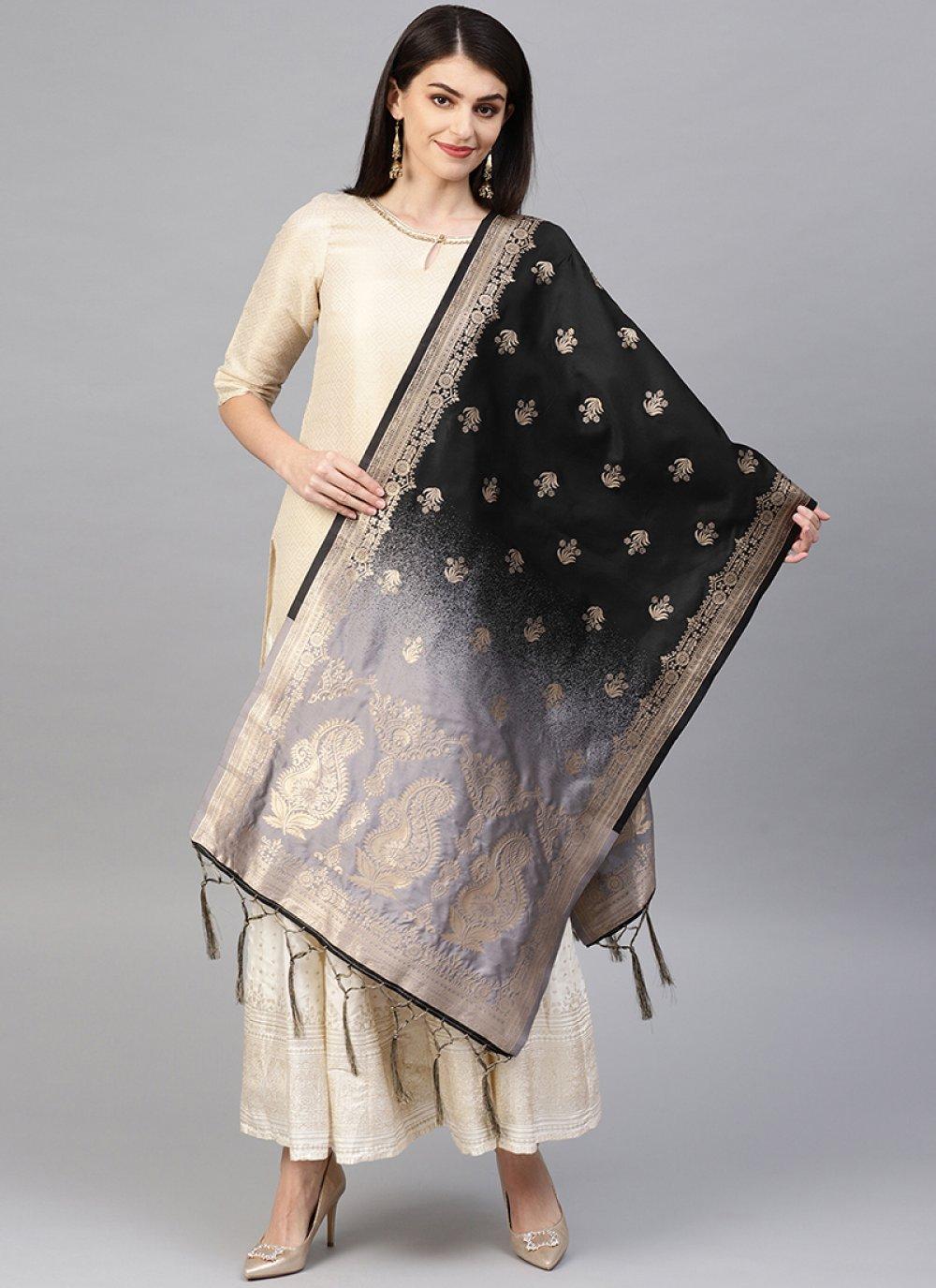 Black and Grey Party Designer Dupatta