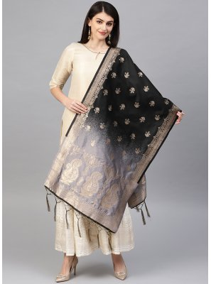 Black and Grey Party Designer Dupatta