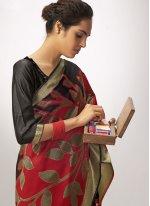 Black and Maroon Party Cotton Silk Designer Saree