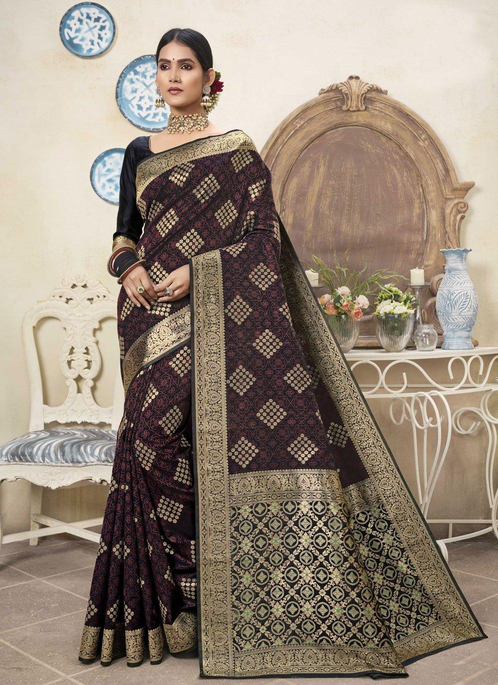 Black and Multi Colour Art Silk Traditional Designer Saree