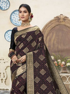 Black and Multi Colour Art Silk Traditional Designer Saree