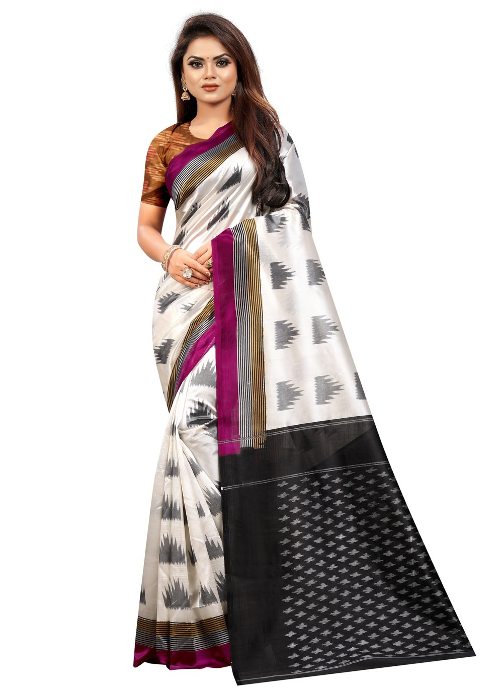 Black and Off White Casual Silk Traditional Saree