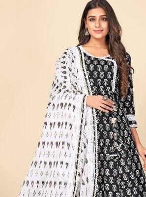 Black and Off White Print Cotton Anarkali Suit