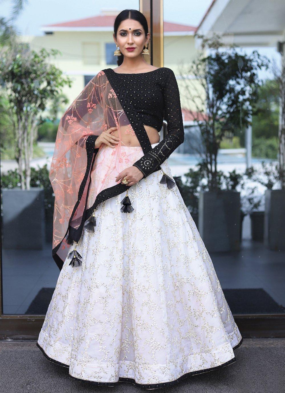 Black and Off White Wedding Bamber Georgette  Readymade Lehenga Choli
