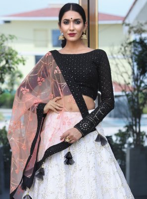 Black and Off White Wedding Bamber Georgette  Readymade Lehenga Choli