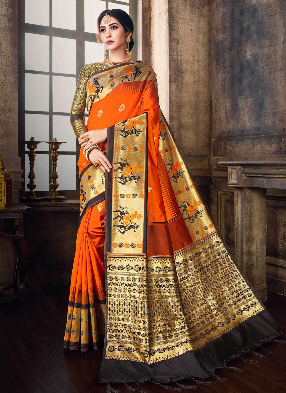 Black and Orange Poly Silk Designer Traditional Saree