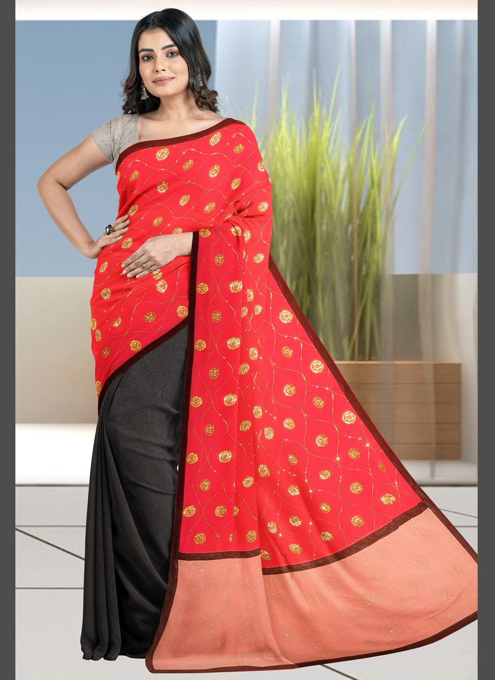 Black and Red Designer Half N Half Saree