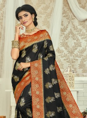 Black and Red Engagement Silk Saree