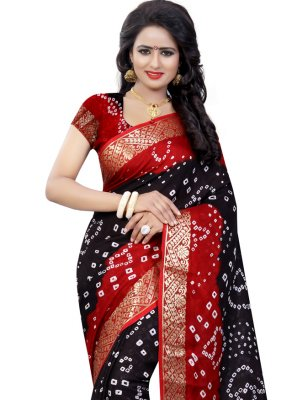 Black and Red Festival Designer Traditional Saree