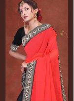 Black and Red Festival Half N Half Designer Saree