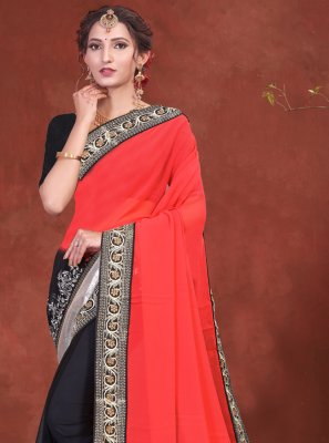 Black and Red Festival Half N Half Designer Saree
