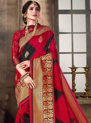 Black and Red Poly Silk Designer Traditional Saree
