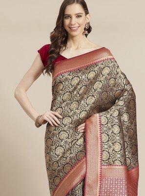 Black and Red Silk Designer Traditional Saree