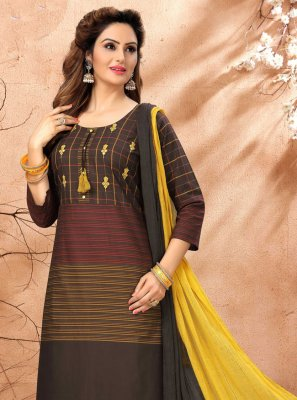 Black and Yellow Cotton Festival Readymade Suit