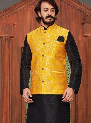 Black and Yellow Festival Kurta Payjama With Jacket