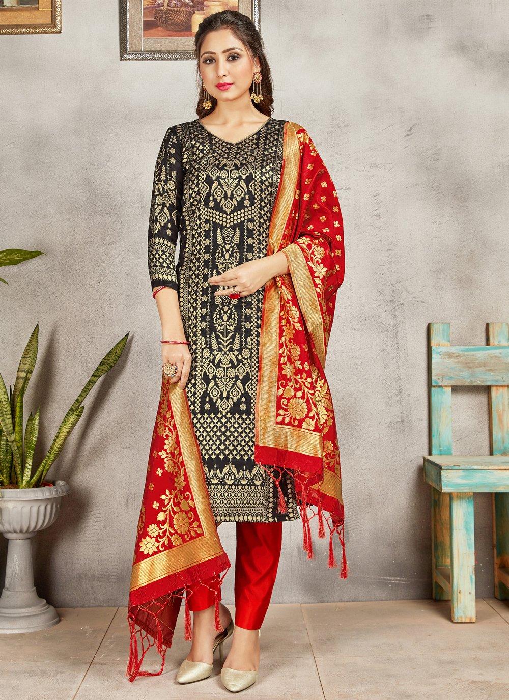 Black Art Banarasi Silk Pant Style Suit