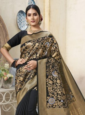 Black Art Silk Designer Traditional Saree