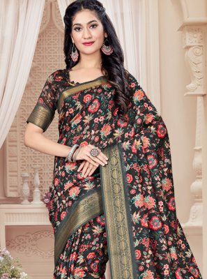 Black Art Silk Festival Printed Saree