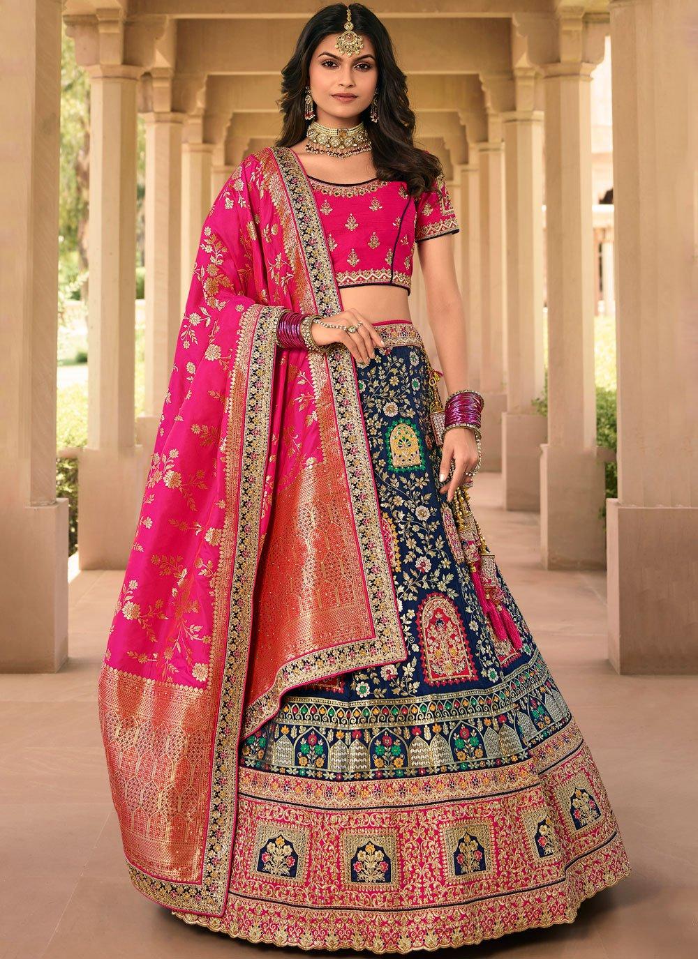 Black Banarasi Silk Zari Bollywood Lehenga Choli