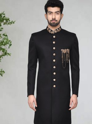 Black Buttons Party Indo Western Sherwani