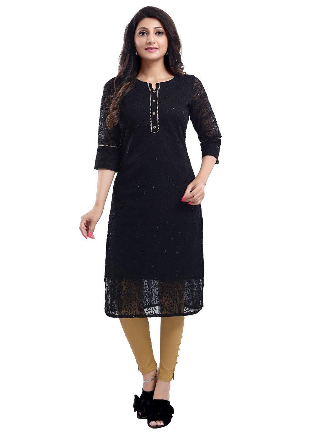 Black Casual Georgette Party Wear Kurti