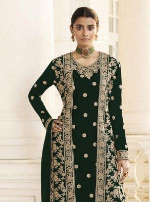 Black Ceremonial Faux Georgette Designer Pakistani Suit