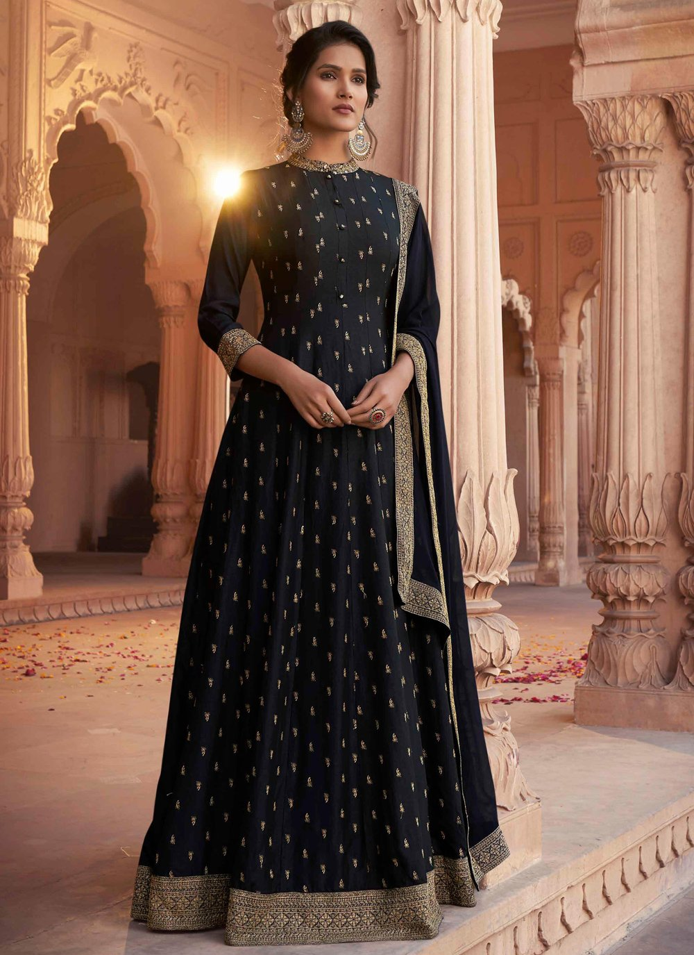 Black Ceremonial Floor Length Anarkali Suit