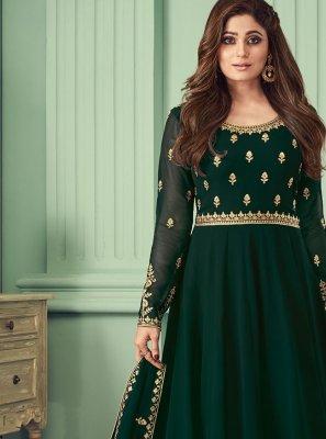 Green Ceremonial Georgette Trendy Salwar Kameez