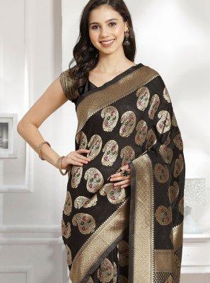 Black Ceremonial Silk Traditional Designer Saree