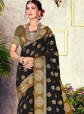 Black Chanderi Cotton Weaving Classic Saree