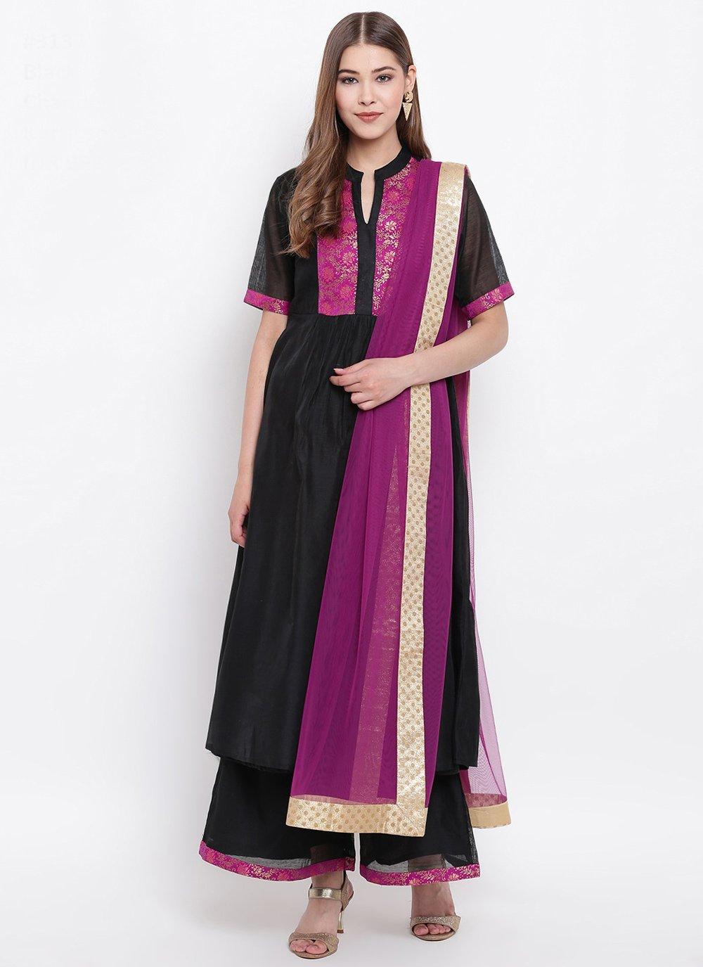Black Chanderi Fancy Party Wear Kurti