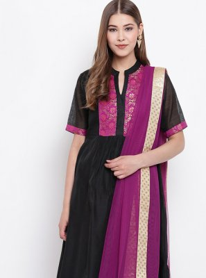 Black Chanderi Fancy Party Wear Kurti