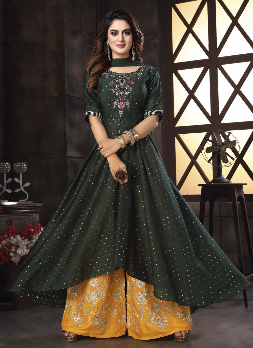 Black Chanderi Sangeet Readymade Suit