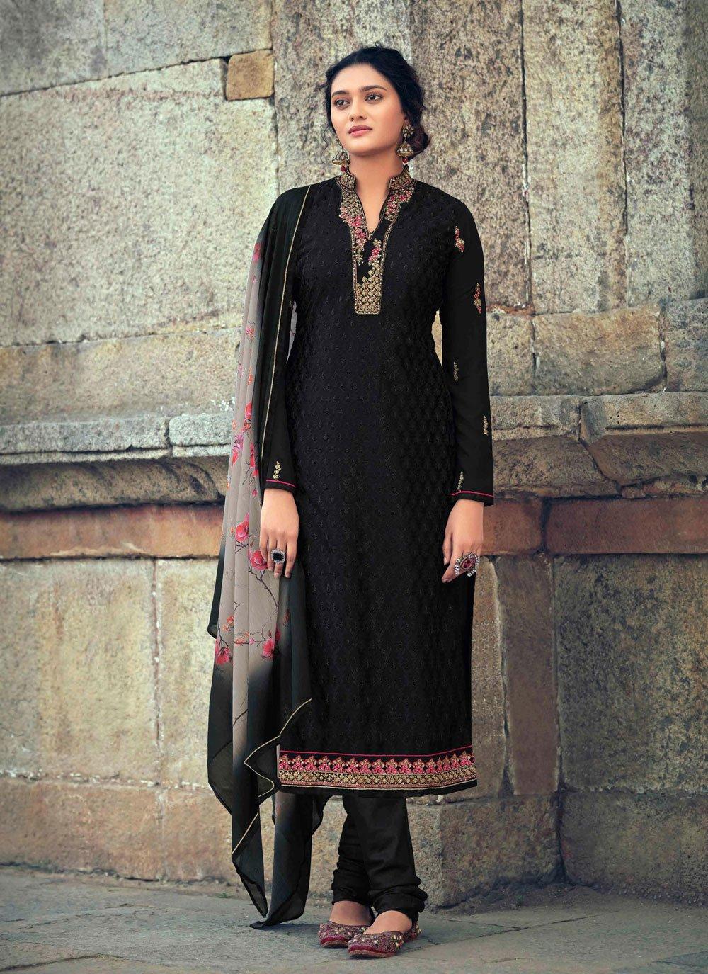 Black Color Designer Straight Suit