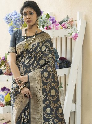 Black Color Designer Traditional Saree