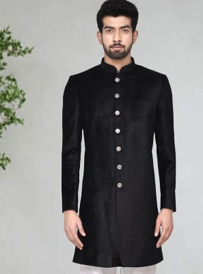 Black Color Indo Western Sherwani