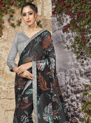Black Color Printed Saree